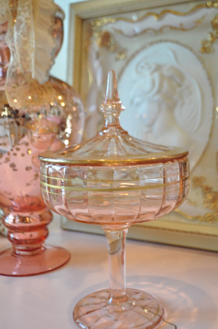Pink Depression Glass Pedestal Candy Dish ~ Beautiful