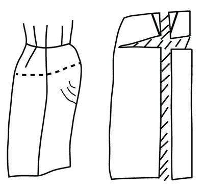 Illustrazione raffigurante modello alterazione della gonna per addome sporgente