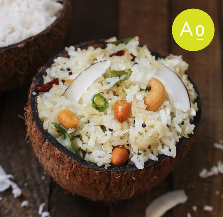 Coconut rice - South Indian One pot meal using leftover cooked basmati rice served in coconut shell.