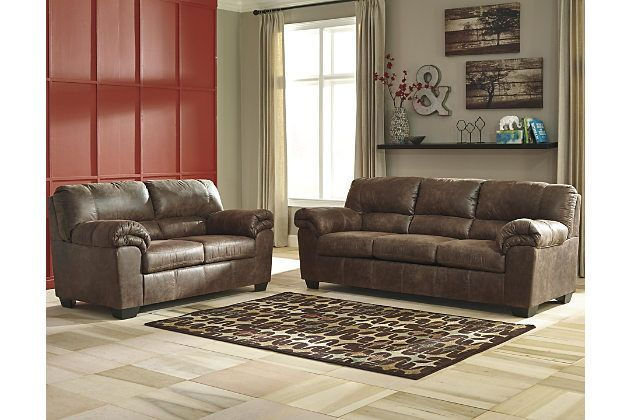If you love the cool look of leather but long for the warm feel of fabric, you'll find the Bladen sofa and loveseat fit the bill beautifully. Rest assured, the textural, multi-tonal upholstery is rich with character and interest—while plush, pillowy cushions merge comfort and support with a high-style design.
