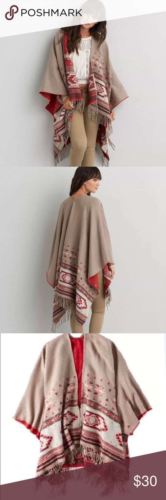 NWT Women AEO Blanket Poncho, One Size Outfitters Product Details  Drape your look with free-spirited style & vintage inspiration. Inspired by the American Southwest. Soft woven fabric Open front Draped silhouette Bold Southwestern pattern Fringe trim 100% Acrylic Machine Wash American Eagle Outfitters Jackets & Coats