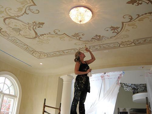 55 best gold and silver leaf images on pinterest for Ceiling mural painting techniques