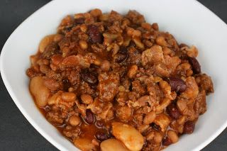 Potluck Beans aka Calico Beans.  Crockpot Recipe.  If you like the Calico Beans may also be served over rice.