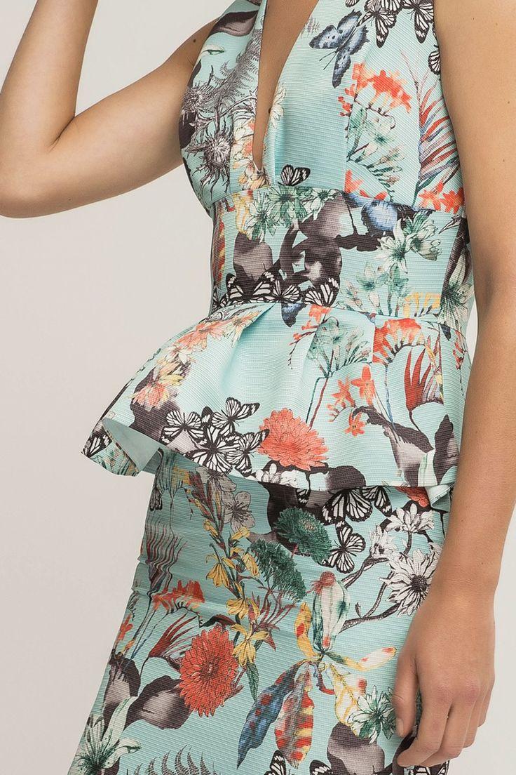 Comprar online vestido estampado de mariposas tejido otoman con peplum para madrinas dama de honor invitada de boda de verano fiesta