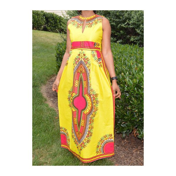 High Waist Sleeveless Tribal Print Maxi Dress ($22) ❤ liked on Polyvore featuring dresses, yellow, tribal print dress, yellow maxi dress, sleeve maxi dress, yellow sleeve dress and print maxi dress