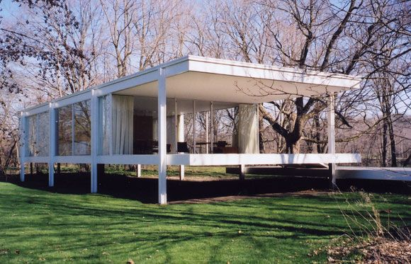 johnson glass house plan the ludwig mies van der rohe. Black Bedroom Furniture Sets. Home Design Ideas
