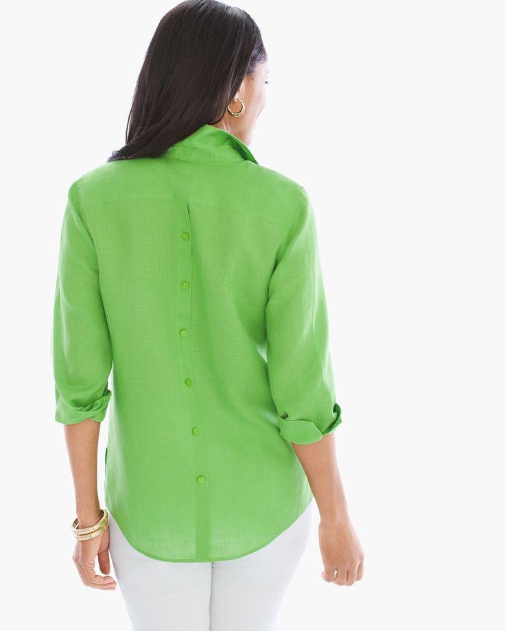 Chico's Women's No-Iron Linen Button-Back Shirt, Chive Green, Size: 4 (20/22 XXL)