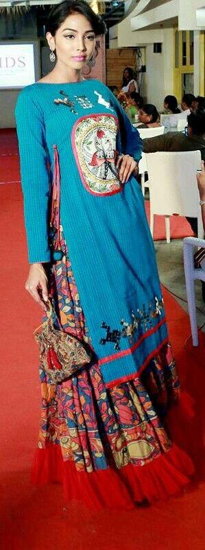 #Kalamkari#Blue#Red#Skirt