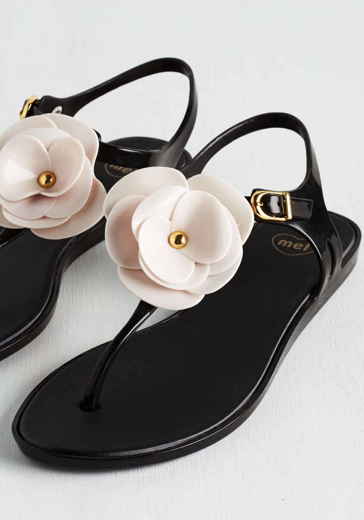 Legion of Bloom Sandal. Mastermind an ensemble that overtakes the world with beauty, topped off with these black sandals from Mel Shoes! #black #modcloth
