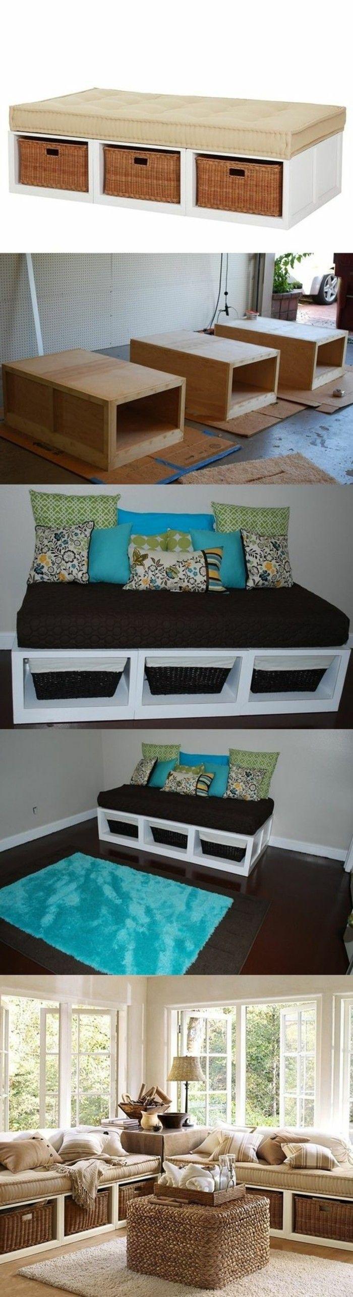 Diy Moebel Kreative Wohnideen Sofa Aus Holz Und Geflochtenen Koerben Selber  Baeuen
