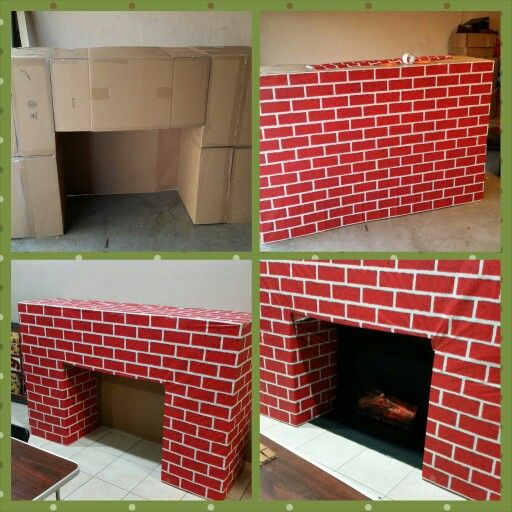 Santa's Entrance: Fireplace Made From Cardboard Boxes