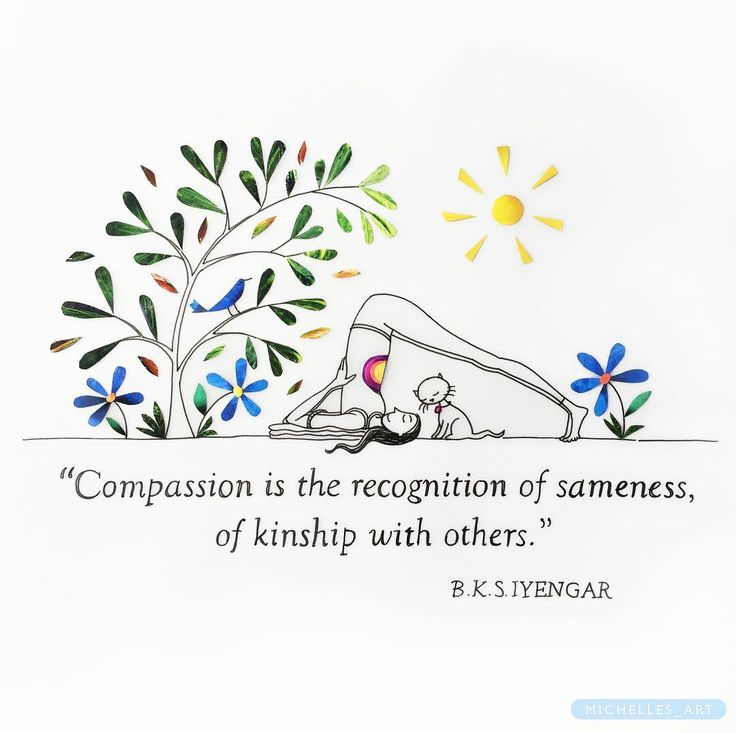 """246 Likes, 19 Comments - ILLUSTRATION⭐️ARTyoga (@michelles_art) on Instagram: """"Compassion is the recognition of sameness! . . . . #iyengaryoga #illustrator #artwork #picame…"""""""