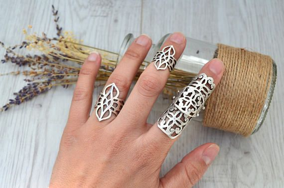 Bohemian Silver Plated Armor Jointed Ring Silver Knuckle Midi