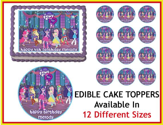 My Little Pony Equestria Girls Edible Cake Image Cupcake Topper Quarter Half 12 Sheets Sizes Available on Etsy, $8.90