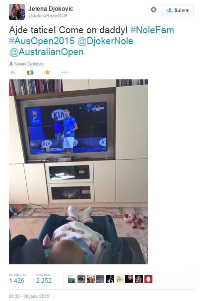 #Novak #Djokovic son #Stefan born in october 2014 watching his father's match against #Milos #Raonic on TV during #ausopen - 28 january 2015 - By @JelenaRisticNDF on #Twitter