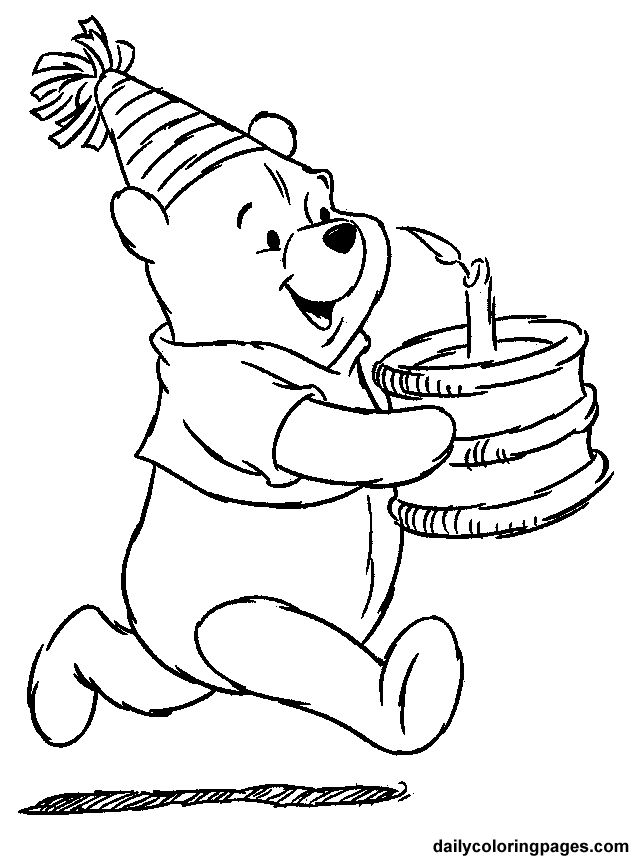 Winnie the Pooh Birthday Coloring Pages