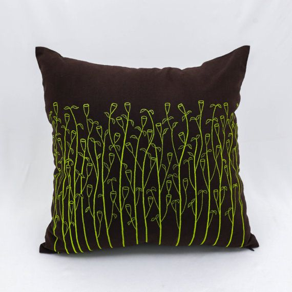 25 best ideas about lime green cushions on pinterest - Throw pillows for brown sofa ...