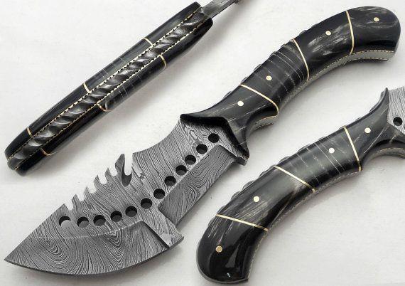 "9.75"" Custom Manufactured Beautiful Damascus Steel Tracker Knife"