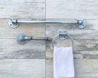 Industrial Modern Rustic Bathroom Set Of 3 Bath Towel Holder Toilet Paper Hand Ring Hanger Rack Pipe Workshop Office