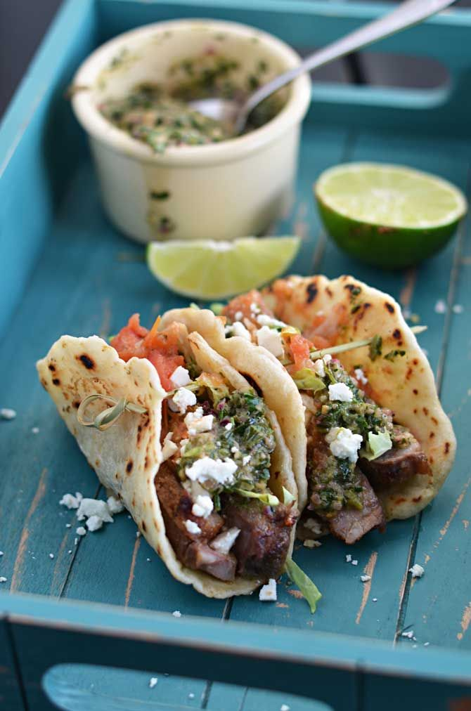 Chili Rubbed Steak Tacos with Chimichurri | Recipe ...