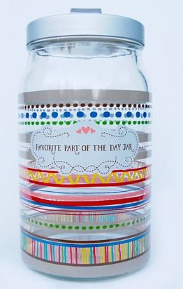 This Favorite Part of the Day Jar is a very vibrant and colorful jar. You can write down your favorite part of each day and after a while you'll be able to look back through the jar on all the wonderful moments in your life.