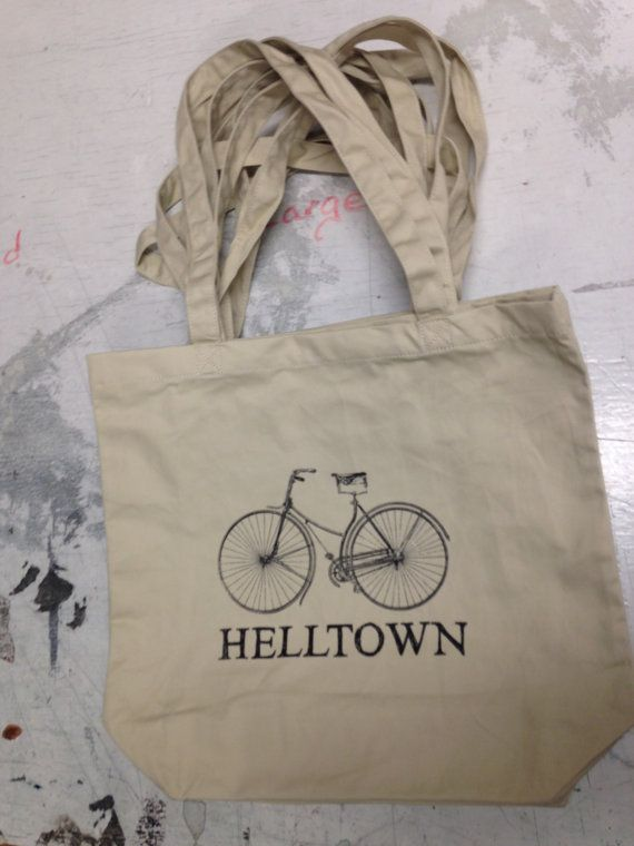 Bicycle Helltown Book Tote Bag by GoodandEvilinc on Etsy, $20.00