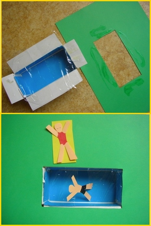 Knutselen thema zomer: een zwembad van een doosje en plasticfolie