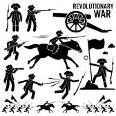 vector people stick : Revolutionary War Soldier Horse Gun Sword Fight Independence Day Patriotic Stick Figure Pictogram Icons