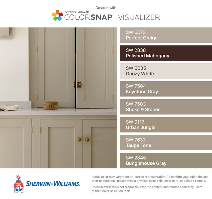 I found these colors with ColorSnap® Visualizer for iPhone by Sherwin-Williams: Perfect Greige (SW 6073), Polished Mahogany (SW 2838), Gauzy White (SW 6035), Keystone Gray (SW 7504), Sticks & Stones (SW 7503), Urban Jungle (SW 9117), Taupe Tone (SW 7633), Bunglehouse Gray (SW 2845). #cityloftsherwinwilliams I found these colors with ColorSnap® Visualizer for iPhone by Sherwin-Williams: Perfect Greige (SW 6073), Polished Mahogany (SW 2838), Gauzy White (SW 6035), Keystone Gray (SW 7504), Sticks