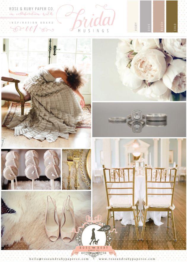 Dove Grey Blush Pink Gold Wedding Inspiration
