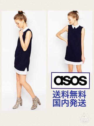 ASOS ワンピース 送料無料・国内発送【ASOS】新作★シャツシフトドレス/ネイビー