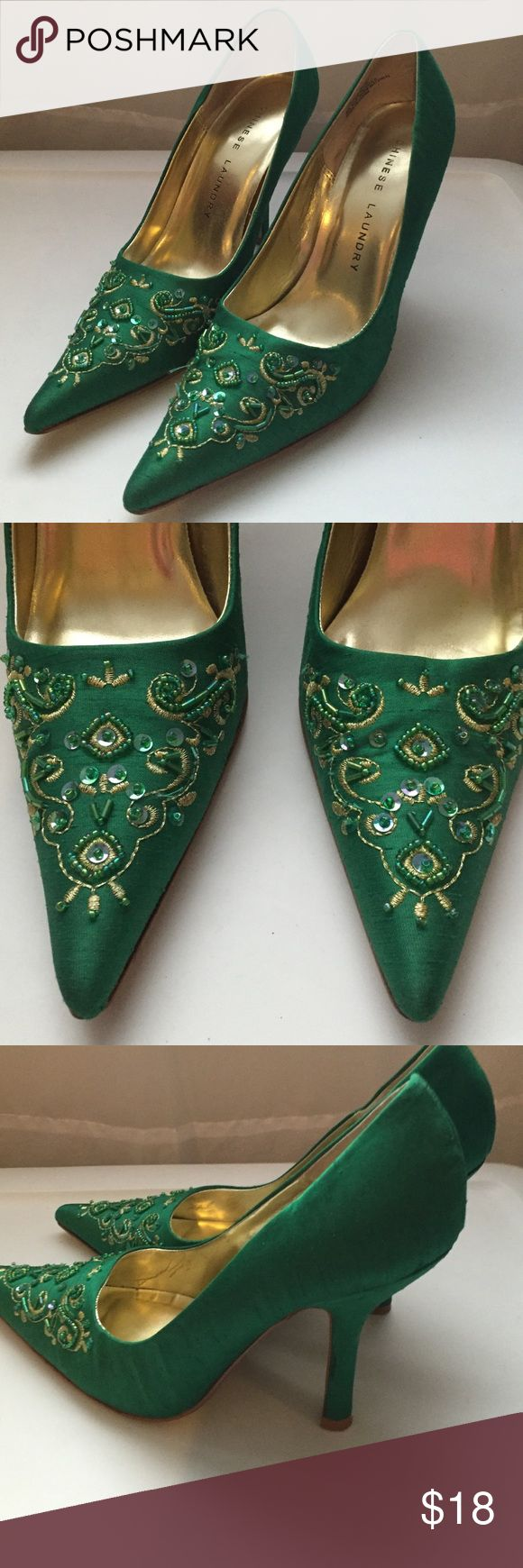 """Unique Chinese Laundry heels Much-loved shoes-- possibly my favorites. These are emerald-green fabric heels with beaded detail and embroidery. They're absolutely gorgeous, but I can no longer wear heels  Please see wear to soles; other than that, they're in excellent condition. 3.5"""" heels. I would love for someone to give these a new home; reasonable offers welcome! Chinese Laundry Shoes Heels"""