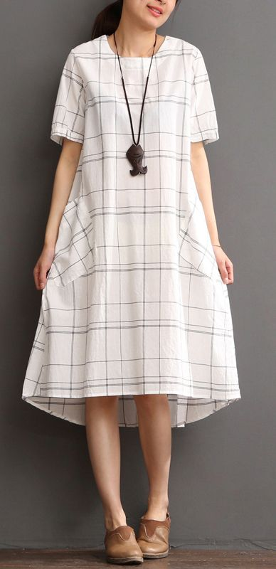 White cotton dress plaid sundress plus size summer maxi dress