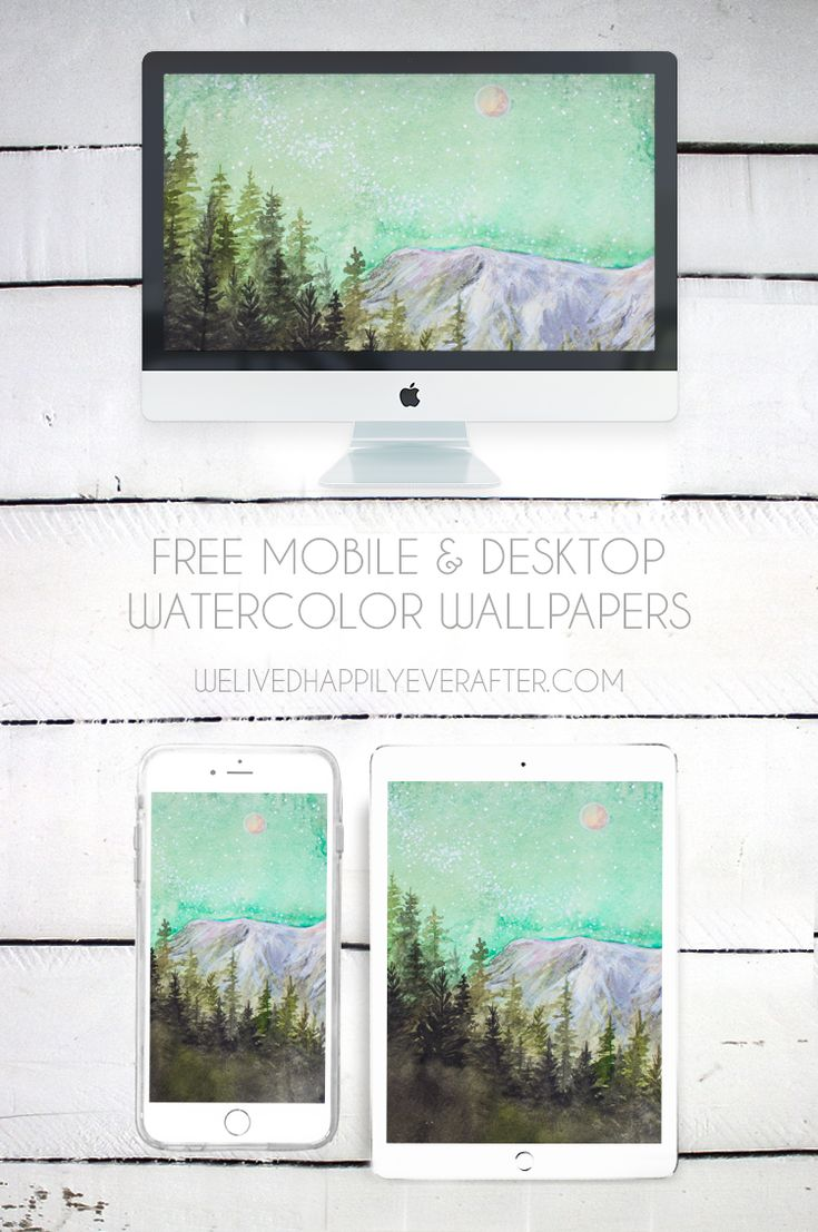 Free Scenic Mobile & Desktop Device Watercolor Wallpapers