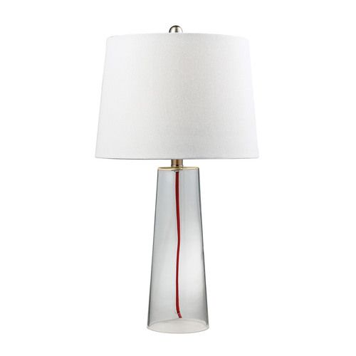Clear Glass Table Lamp With Red Cord - D138