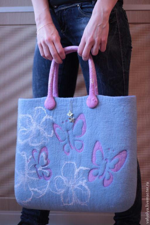 """Купить Сумка валяная """"Butterfly in the sky"""" - валяная сумка, сумка валяная войлочная ♡"""