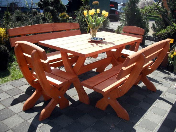 """1. Krzesło: wysokość całkowita 100 cm, siedzenie szer. 48 cm - cena 170 zł 2. Stół prostokątny: blat 80x160cm, wysokość 75 cm - cena 320 zł 3. Ława 3 osobowa: wysokość całkowita 100cm, szerokość siedziska 160 cm - cena 260 zł Meble ogrodowe masywne drewniane TYP """"M"""""""