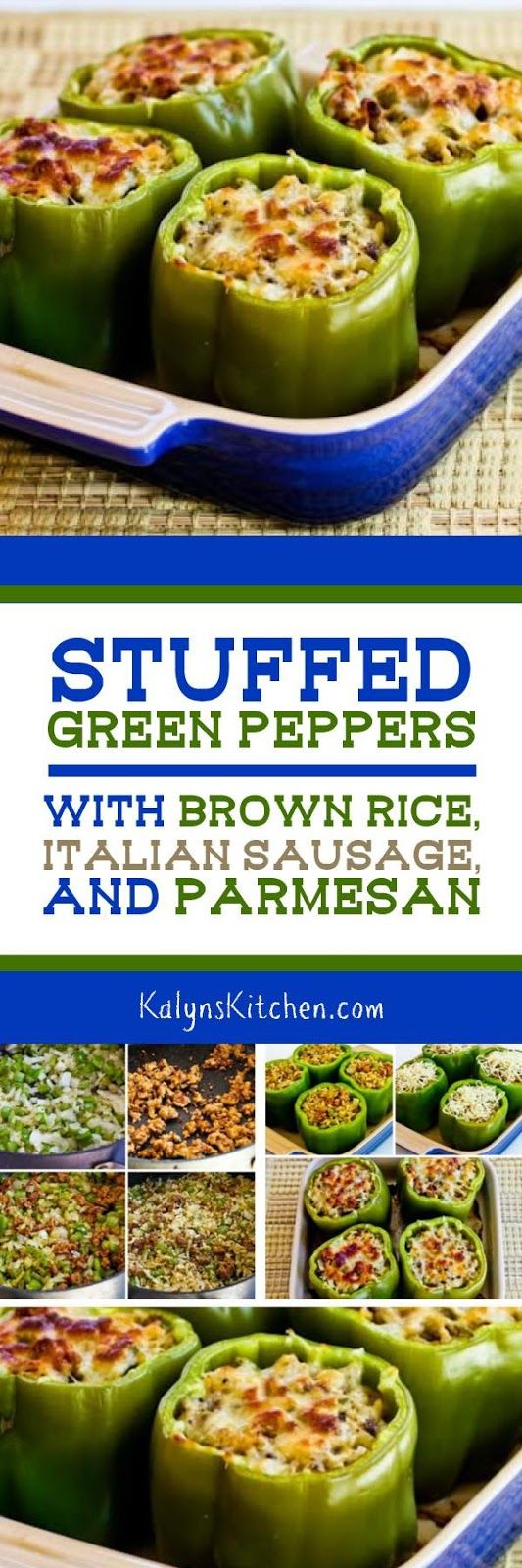 These Stuffed Green Peppers with Brown Rice, Italian Sausage, and Parmesan have been HUGELY POPULAR on the blog. If you prefer lower-carbs, the recipe has a link to a similar recipe without the rice or you can substitute cauliflower rice, but if you're a stuffed peppers fan, this is a MUST-MAKE recipe! [found on KalynsKitchen.com] #StuffedPeppers  #LowGlycemic #GlutenFree #StuffedPeppersSausageRice