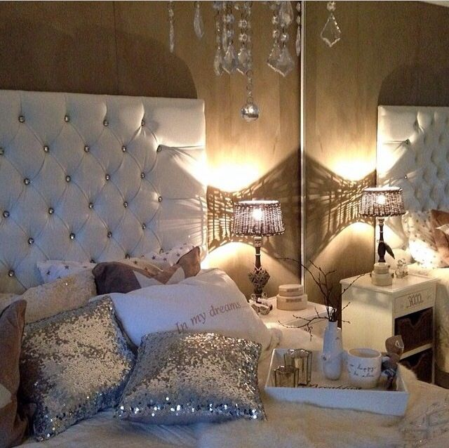 sparkly pillows on bed