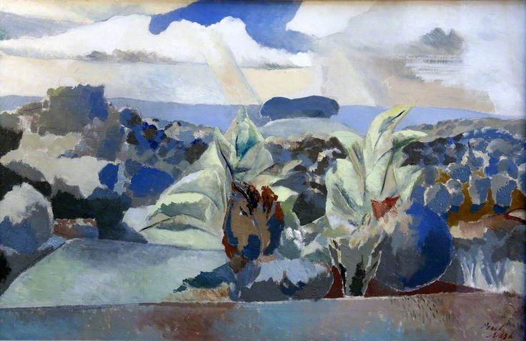 """thunderstruck9: """"Paul Nash (English, 1889-1946), Landscape of the Bagley Woods, 1943. Oil on canvas, 56 x 86.3 cm. """""""