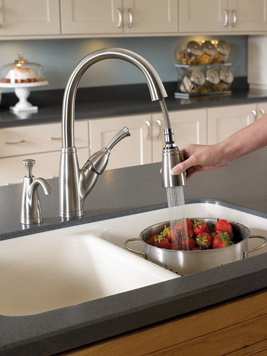 Streamline Your Sink  Add an integrated soap or lotion dispenser to your kitchen or bathroom sink to eliminate the clutter of a freestanding bottle. Mount the unit on your existing faucet deck or sink following the directions that accompany the pump.