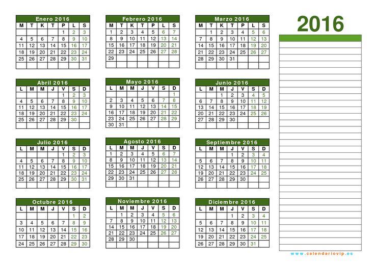 Calendario 2016 para imprimir y descargar. También por meses. En distintos formatos: word, xls, pdf, jpg