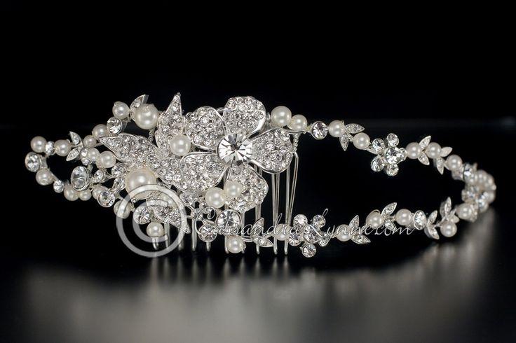 Pave Flower & Pearls Wedding Headband