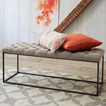 Tufted Bench - Stone Wash Granite | West Elm- master bedroom
