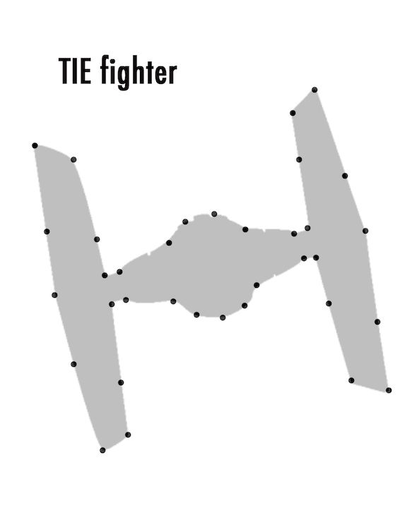 TIE fighter template for Star Wars String Art from One Project Closer