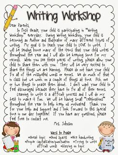 Writing Workshop... A Little of This and a Little of That... and a couple FREEBIES! Letter to send to Parents to let them know a little about Writing Workshop and my expectations of writing that comes home. EDITABLE LETTER:)