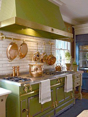 Le Cornue with copper & brass pots & pans.