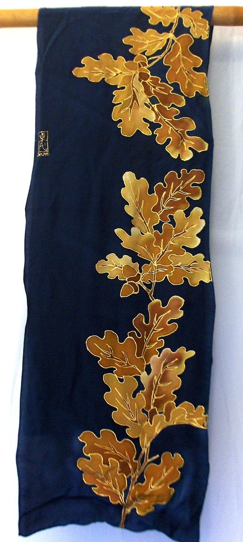 Silk Mens Scarf. Hand Painted. Navy Blue Golden Oak. Silk Scarves Takuyo. Silk Scarf Japanese. Blue silk scarf. 14x72 in. Made to Order.. $168.00, via Etsy.