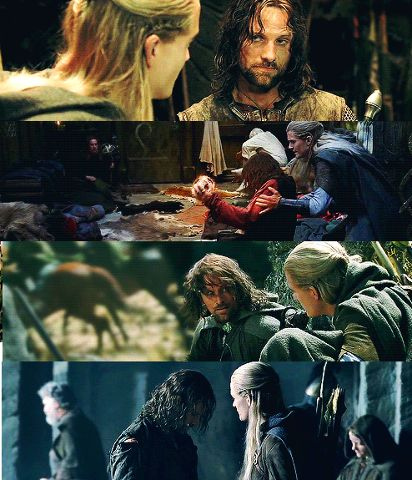 Legolas comforting Aragorn (and the other way around). I absolutely love the relationship between these two. They will always have eachothers back no matter what. They are like brothers. :)