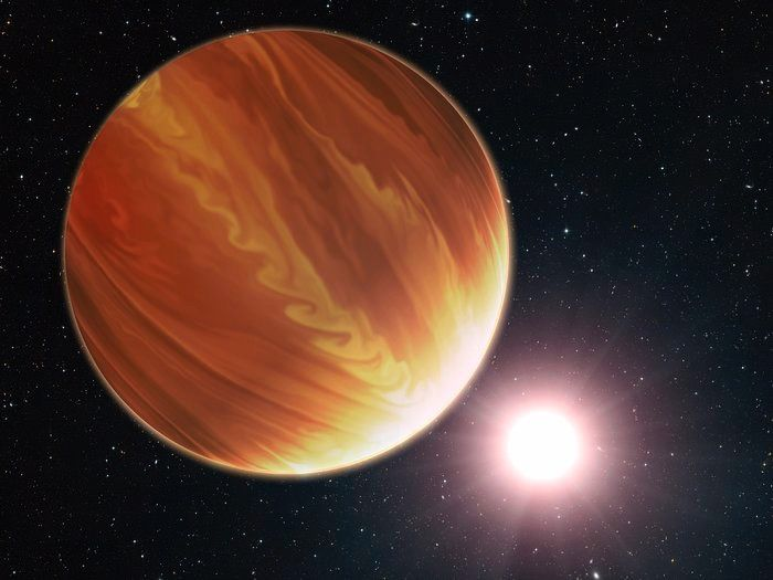 "This is an artistic illustration of the gas giant planet HD 209458b (unofficially named Osiris) located 150 light-years away in the constellation Pegasus. This is a ""hot Jupiter"" class planet. Estimated to be 220 times the mass of Earth. The planet's atmosphere is almost 1000 degrees celsius. It orbits very closely to its bright sun-like star, and the orbit is tilted edge-on to Earth."